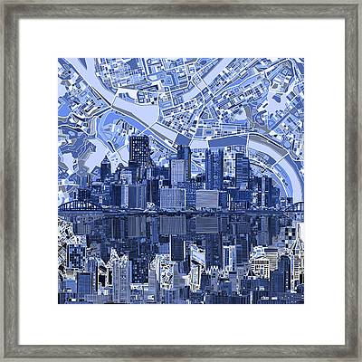 Pittsburgh Skyline Abstract 4 Framed Print by Bekim Art