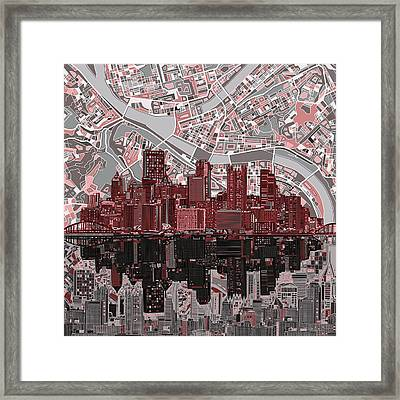 Pittsburgh Skyline Abstract 5 Framed Print by Bekim Art