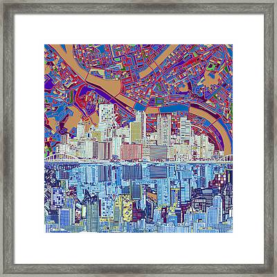 Pittsburgh Skyline Abstract 6 Framed Print by Bekim Art