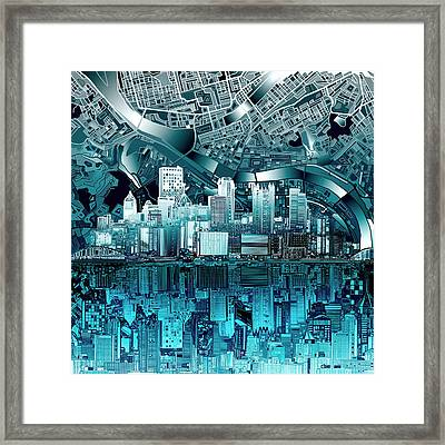 Pittsburgh Skyline Abstract Blue Framed Print