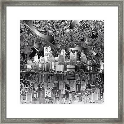 Pittsburgh Skyline Abstract Bw Framed Print