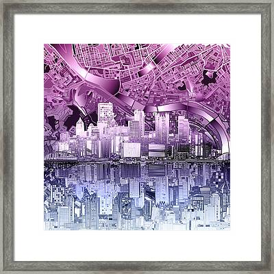 Pittsburgh Skyline Abstract Purple Framed Print