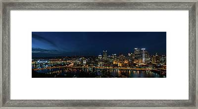 Pittsburgh Skyline At Dusk Panoramic  Framed Print by Terry DeLuco