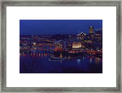 Pittsburgh Skyline At Night Christmas Time Framed Print by Terry DeLuco