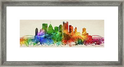 Pittsburgh Skyline Panorama Uspapi-pa03 Framed Print by Aged Pixel