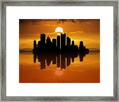 Pittsburgh Skyline Sunset Reflection Framed Print by Dan Sproul