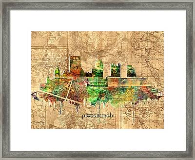 Pittsburgh Skyline Vintage 2 Framed Print by Bekim Art