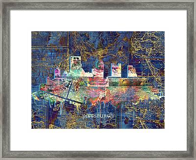Pittsburgh Skyline Vintage Framed Print