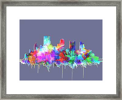 Pittsburgh Skyline Watercolor 3 Framed Print