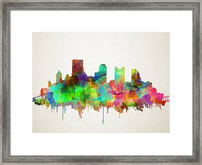 Pittsburgh Skyline Watercolor 5 Framed Print by Bekim Art