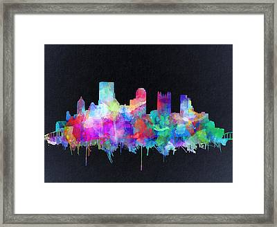Pittsburgh Skyline Watercolor 6 Framed Print
