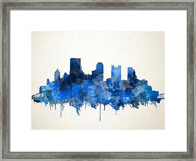 Pittsburgh Skyline Watercolor Blue Framed Print