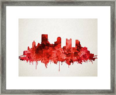 Pittsburgh Skyline Watercolor Red Framed Print