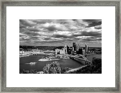 Pittsburgh Skyline With Boat Framed Print