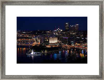 Pittsburgh Sparkles At Night Framed Print by Lori Coleman