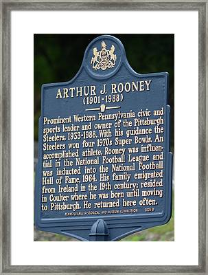 Pittsburgh Steelers Art Rooney Historical Plaque  Framed Print by Joe Lee