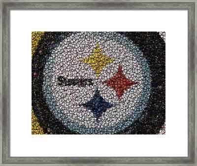 Pittsburgh Steelers  Bottle Cap Mosaic Framed Print by Paul Van Scott