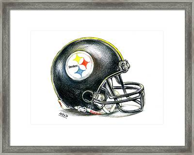 Pittsburgh Steelers Helmet Framed Print by James Sayer
