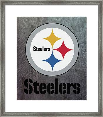Pittsburgh Steelers On An Abraded Steel Texture Framed Print