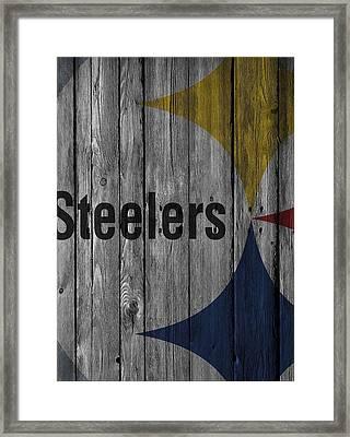 Pittsburgh Steelers Wood Fence Framed Print by Joe Hamilton