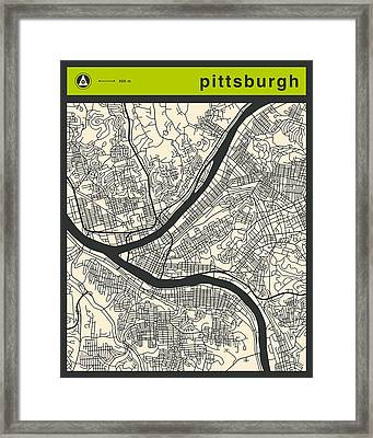 Pittsburgh Street Map Framed Print by Jazzberry Blue