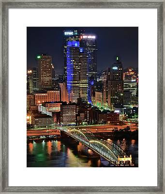 Pittsburgh Towers And Bridge 2017 Framed Print by Frozen in Time Fine Art Photography