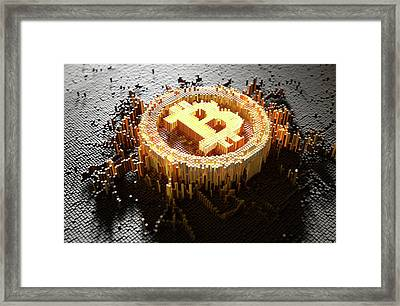 Pixel Bitcoin Concept Framed Print
