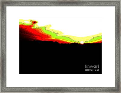 Pixel Sunset Framed Print by Vadim Grabbe