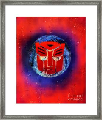 Pixeled Autobot Framed Print by Justin Moore