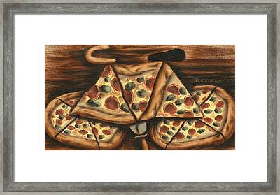 Framed Print featuring the painting Tommervik Pizza Bicycle Art Print by Tommervik
