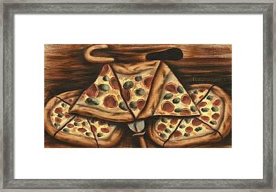 Tommervik Pizza Bicycle Art Print Framed Print by Tommervik
