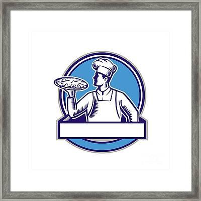 Pizza Chef Serving Pizza Circle Woodcut Framed Print by Aloysius Patrimonio