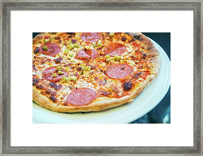 Pizza Closeup On Plate Framed Print