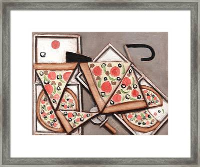 Framed Print featuring the painting Tommervik Pizza Delivery Bicycle Art Print by Tommervik