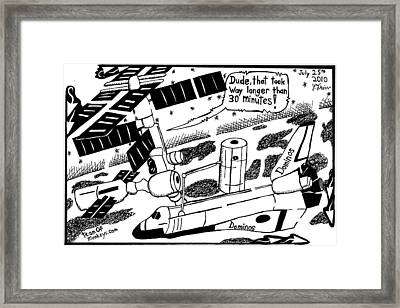 Pizza In The Space Shuttle Maze Cartoon By Yonatan Frimer Framed Print by Yonatan Frimer Maze Artist