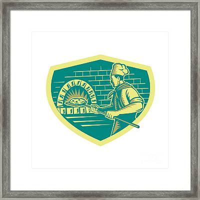Pizza Maker Holding Peel Crest Woodcut Framed Print