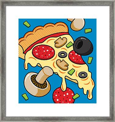 Pizza On Blue Framed Print by Ron Magnes