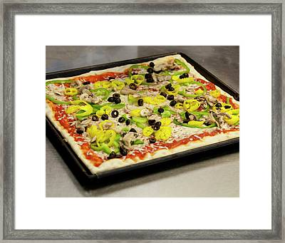 Pizza With Peppers Framed Print
