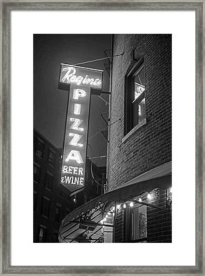 Pizzeria Regina Boston Ma North End Thacher Street Neon Sign Black And White Framed Print by Toby McGuire