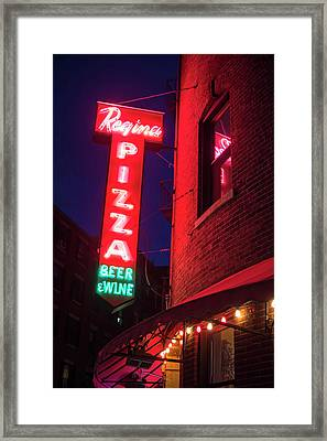 Pizzeria Regina Boston Ma North End Thacher Street Neon Sign Framed Print