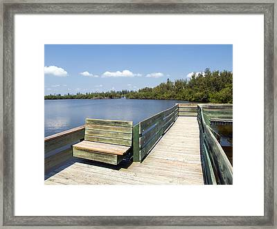 Place For Fishing Or Just Sitting At Round Island In Florida  Framed Print by Allan  Hughes
