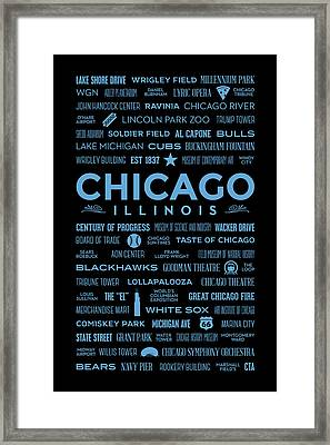 Places Of Chicago Blue On Black Framed Print