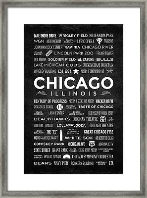 Framed Print featuring the digital art Places Of Chicago On Black Chalkboard by Christopher Arndt