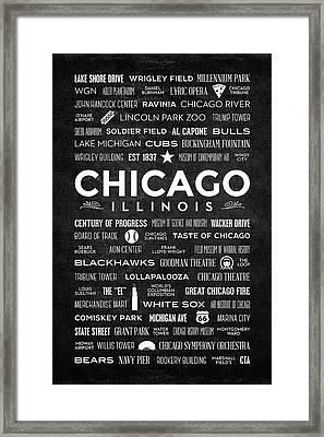Places Of Chicago On Black Chalkboard Framed Print