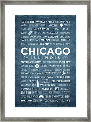 Places Of Chicago On Blue Chalkboard Framed Print