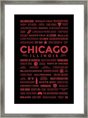 Places Of Chicago On Red On Black Framed Print