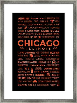 Framed Print featuring the digital art Places Of Chicago Orange On Black by Christopher Arndt