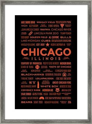 Places Of Chicago Orange On Black Framed Print