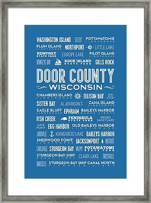 Places Of Door County On Blue Framed Print by Christopher Arndt