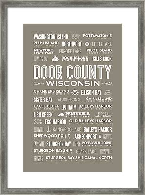 Places Of Door County On Brown Framed Print
